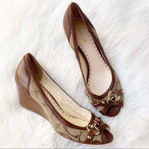 Coach Peep Toe Wedges Logo Heels Demi Wedge Shoe